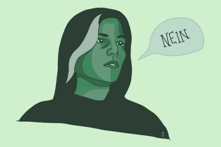 """Grafik einer Frau mit der Sprechblase """"Nein"""" vor sich dargestellt."""