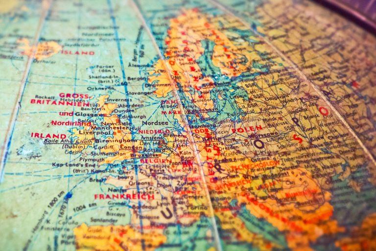 Grenzen auf einer Landkarte