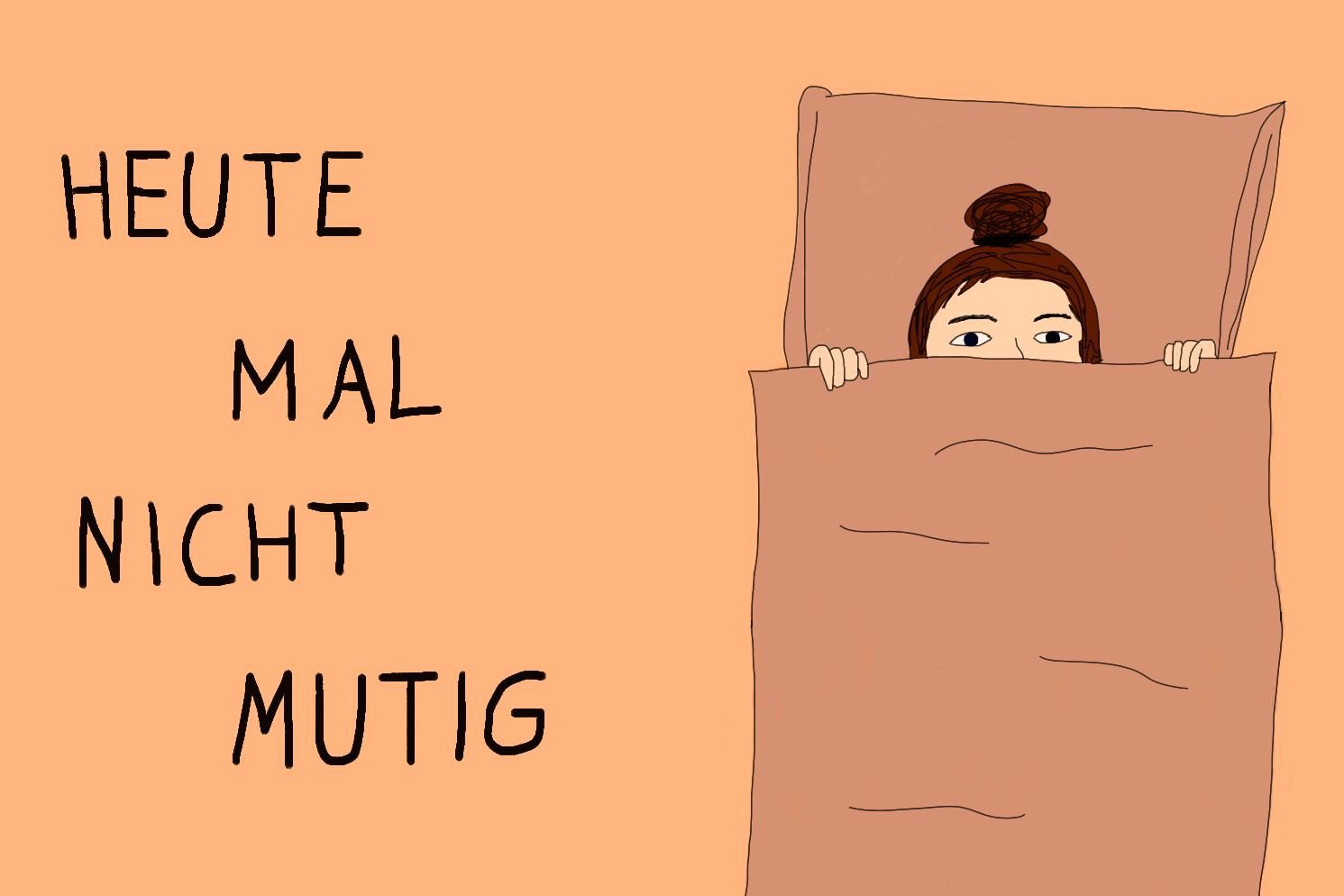 Eine Frau liegt im Bett und zieht sich die Bettdecke halb über ihr Gesicht.
