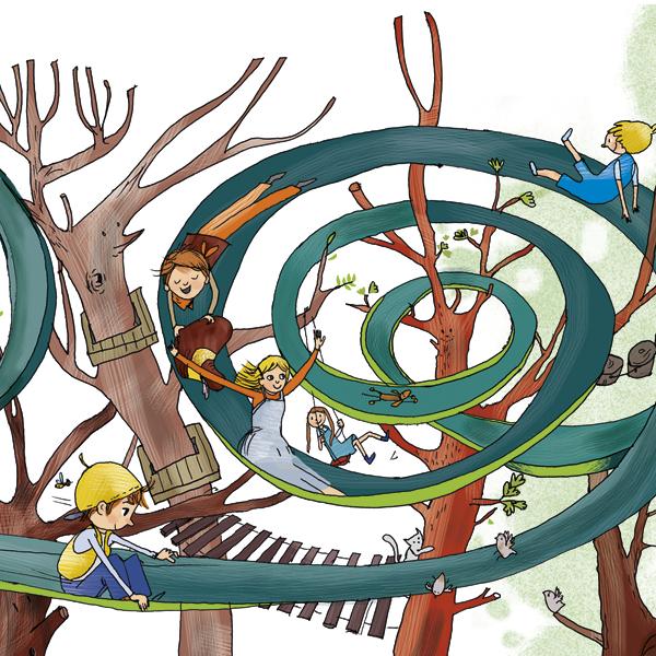 Illustration aus dem Buch Muträuber: Kinder rutschen fröhlich eine Spirale hinunter.